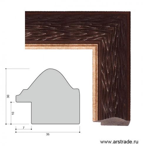 Багет пластиковый 35х30 ZR8162-22464A /уп 139,2м/ коричневый