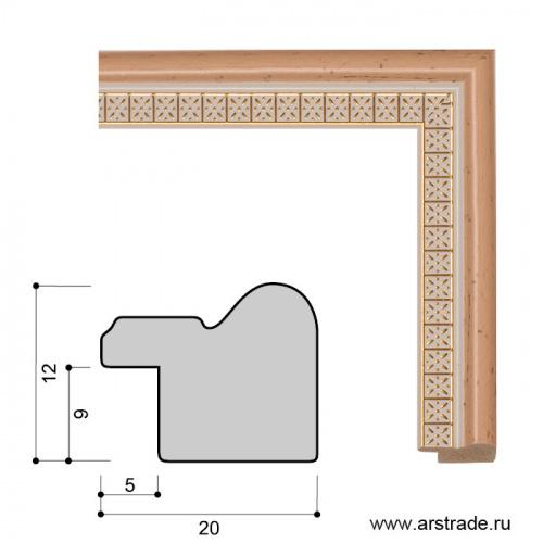 Багет пластиковый 20х12 CH759-2 /уп 319м/