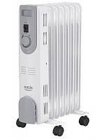 Обогреватель масляный OASIS US-15 белый, 1500 Вт, 7 секций, механическое управление, терморегулятор