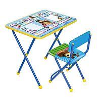 Комплект детской мебели НИКА Азбука2 КП2/2 Маша и Медведь, стол 58 см, стул мягкий, каркас голубой