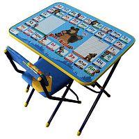 Комплект детской мебели НИКА Азбука2 КУ1/2 Маша и Медведь, стол 58 см, стул мягкий, каркас голубой, подножка