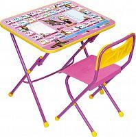Комплект детской мебели НИКА Азбука3 КПУ1/3 Маша и Медведь, стол 58 см, стул пластик, каркас розовый, подножка