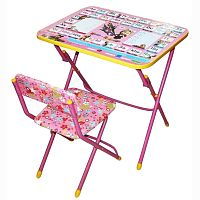 Комплект детской мебели НИКА Азбука3 КУ1/3 Маша и Медведь, стол 58 см, стул мягкий, каркас розовый, подножка