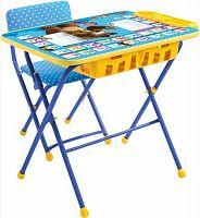 Комплект детской мебели НИКА Английская азбука КУ2П/4 Маша и Медведь, стол 60 см, стул мягкий, каркас синий, подножка
