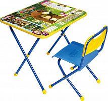 Комплект детской мебели НИКА Позвони мне КП/6 Маша и Медведь, стол 52 см, стул пластик, каркас голубой
