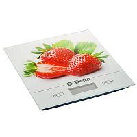 Весы кухонные DELTA KCE-29 рисунок ''клубника'', электронные, 5 кг, 1 гр, стекло, платформа