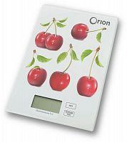 Весы кухонные ORION ВБК-СП04-5КГ белый ''вишня'', электронные, 5 кг, 1 гр, стекло, платформа