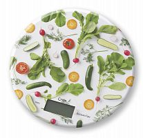 Весы кухонные ORION ВБК-СП05-5КГ белый ''овощи'', электронные, 5 кг, 1 гр, стекло, платформа