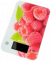 Весы кухонные SUPRA BSS-4202 белый ''ягоды'', электронные, 5 кг, 1 гр, стекло, платформа