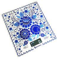 Весы кухонные Василиса ВА-005 ''гжель'', электронные, 5 кг, 1 гр, стекло, платформа