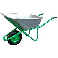 Тачка строительная ТС-132, зеленая, 1-колесная, 120 л, 200 кг, оцинкованный  кузов , пневматическое колесо, сборная рама