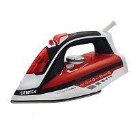 Утюг CENTEK CT-2350 красный, 2400 Вт, керамика, подача пара, паровой удар, верт. отпаривание, разбрызгивание, самоочистка