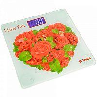 Весы напольные электронные DELTA D-9217 рисунок ''розы для любимой'', стекло, 150 кг