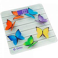 Весы напольные электронные DELTA D-9218 рисунок ''радужные бабочки'', стекло, 150 кг