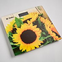 Весы напольные электронные DELTA D-9240 рисунок ''букет подсолнухов'', стекло, 150 кг