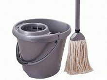 Комплект для уборки SV3076ЛЕГО, черенок100 см, ручной отжим, насадка х/б, ведро, швабра
