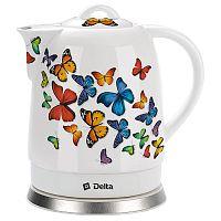 Чайник DELTA DL-1233A белый ''бабочки'', корпус: керамика, 1,7 л, 1500 Вт, диск