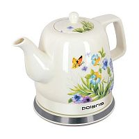 Чайник POLARIS PWK-1283CCR белый ''весна'', корпус: керамика, 1,2 л, 1800 Вт, диск
