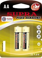 Батарейка алкалиновая SUPRA LR6-2B, блистер, (1 уп - 2 шт), АА, 1,5 В