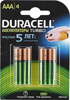 Аккумулятор никель-металлгидридный DURACELL HR03-4BL, блистер, (1 уп - 4 шт), ААА, 850 mAh, 1,2 В, предзаряженный, перезаряжаемый