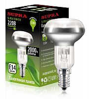 Лампа галогенная SUPRA SL-R50-53W-E14, 53 Вт (эквивалент 75 Вт), дутый рефлектор, E14, 2800 К, теплый свет, 790 лм