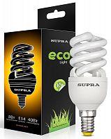 Лампа энергосберегающая SUPRA Премиум SL-FSP-12/2700/E14-N, 12 Вт (эквивалент 60 Вт), спираль, E14, 2700 К, теплый свет, 720 лм