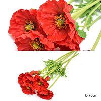 Цветок искусственный Мак 70 см / JY-5E /уп 24 /288/ латекс
