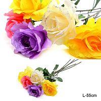 Цветок искусственный Роза 55 см / WSP-7 /уп10/1000/