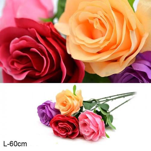 Цветок искусственный Роза 60 см / 0341-45 /уп 300/1200/