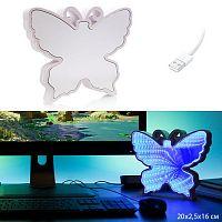 Светильник зеркальный Бабочка с 3D эффектом туннеля LED / 878-31 /уп 48/