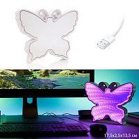 Светильник зеркальный Бабочка с 3D эффектом туннеля LED / 878-6 /уп 60/