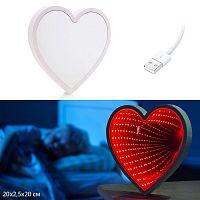 Светильник зеркальный Сердце с 3D эффектом туннеля LED / 878-18 /уп 48/