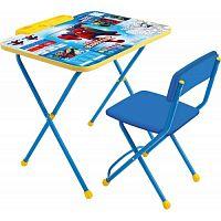 Комплект детской мебели НИКА Marvel2 Д2Ч Человек-Паук, стол 58см, пенал, стул мягкий, каркас голубой