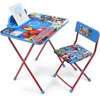 Комплект детской мебели НИКА Marvel2 Д4А Мстители, стол 58см, пенал, стул мягкий, каркас голубой