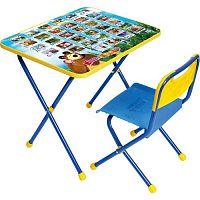 Комплект детской мебели НИКА Азбука1 КП/1 Маша и Медведь, стол 52см, стул пластик, каркас голубой