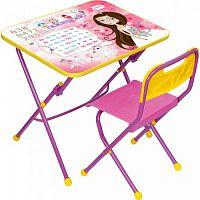 Комплект детской мебели НИКА КПУ1/17 Принцесса,  стол 58см, стул пластик, каркас розовый, подножка