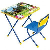 Комплект детской мебели НИКА Познайка КП/5,  стол 52см, стул пластик, каркас голубой