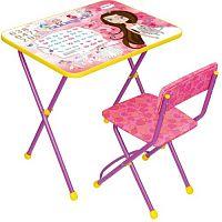 Комплект детской мебели НИКА Познайка КП2/17 Принцесса, стол 58см, стул мягкий, каркас розовый