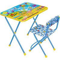 Комплект детской мебели НИКА Познайка КП2/8 Математика В Космосе, стол 58см, стул мягкий, каркас голубой