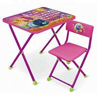 Комплект детской мебели НИКА Т-1 Тролли, стол 60см, стул мягкий, каркас розовый, подножка