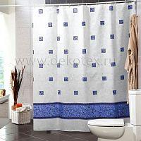 Шторы для ванн MIRANDA EMERALD голубой 200*180см (полиэстер ткань)