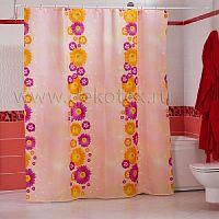 Шторы для ванн MIRANDA FLOWERS PATH розовый 200*180см (полиэстер ткань)