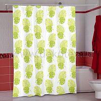 Шторы для ванн MIRANDA PLANT (зеленый) 200*180см (полиэстер ткань)