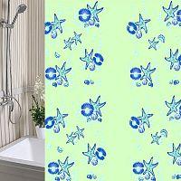 Шторы для ванны 180х180см Морская Звезда зеленая, полиэтилен А-Стиль (Россия)