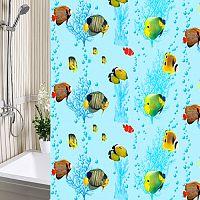 Шторы для ванны 180х180см Рыбки, полиэтилен А-Стиль (Россия), кольца в комплекте