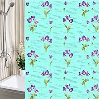 Шторы для ванны 180х180см Тюльпаны зеленые, полиэтилен А-Стиль (Россия)