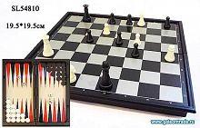 Игра настольная 3 в 1: нарды, шахматы, шашки 19,5х19,5 / SL54810 /уп.144/магнитная доска