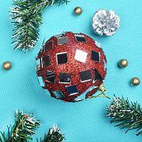 Новогодний шар красный 9 см АКЦИЯ /  JX10-627#48 /уп.144/