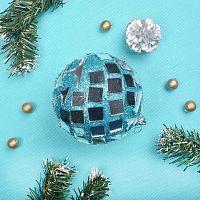 Новогодний шар синий 9 см АКЦИЯ / JX10-627#49 /уп.144/