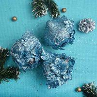 Елочный шар 3 штуки 8 см голубой АКЦИЯ / CQ1316/8 /уп.120/